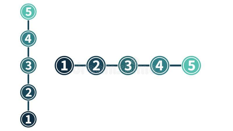 infographic in vijf stappen, aantallen in cirkels, het raiting of evaluatie verticaal en horisontal concept Vector Geïsoleerdel i stock illustratie