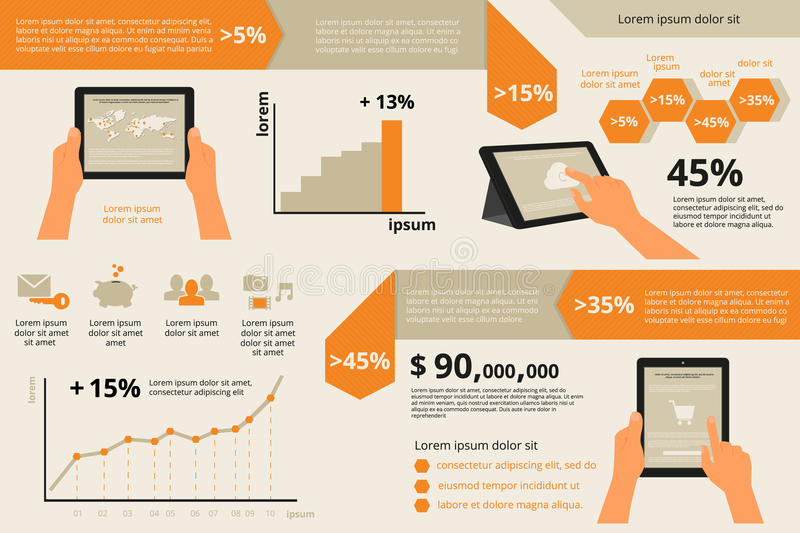 Infographic visualization of usability tablet pc royalty free illustration