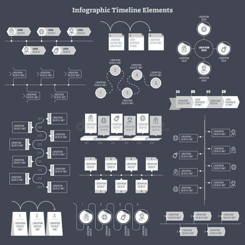 Infographic vlak vectorontwerp, de elementeninzameling van de bedrijfsgegevensinformatie stock illustratie