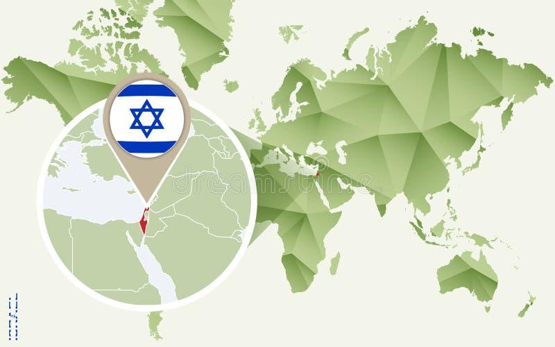 Infographic voor Israël, gedetailleerde kaart van Israël met vlag royalty-vrije illustratie