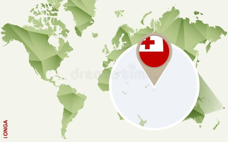 Infographic voor Tonga, gedetailleerde kaart van Tonga met vlag vector illustratie