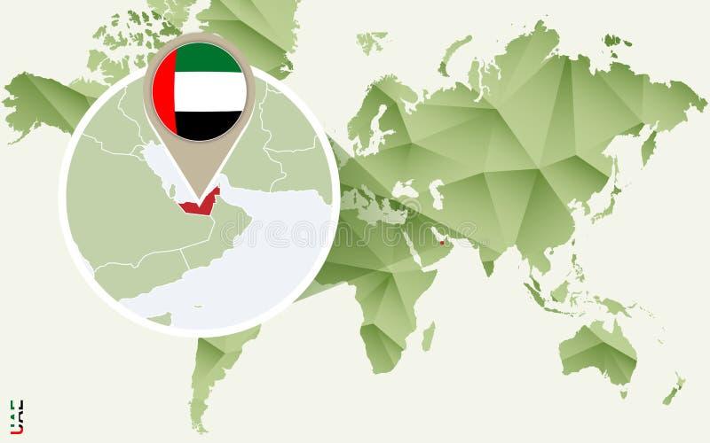 Infographic voor Verenigde Arabische Emiraten, gedetailleerde kaart van de V.A.E met vlag royalty-vrije illustratie