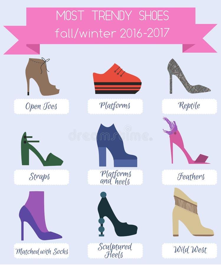 In infographic vrouwenschoenen van dalingswintertijd vector illustratie
