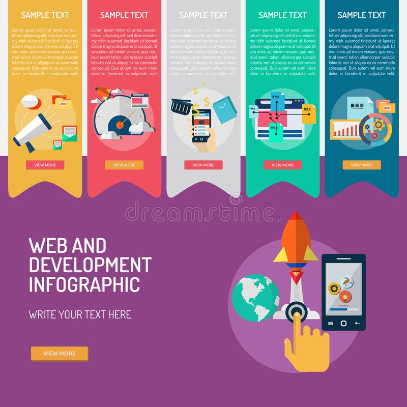 Web and Development Infographic Complex. Infographic Web and Development | Use for business, web, development, technology and much more. The set can be used for royalty free illustration