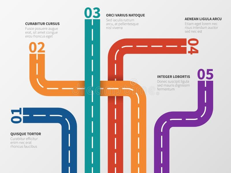 Infographic weg Optiediagram, procesgrafiek met de sporen van de stadsstraat Bedrijfsstap vectorinfographics vector illustratie