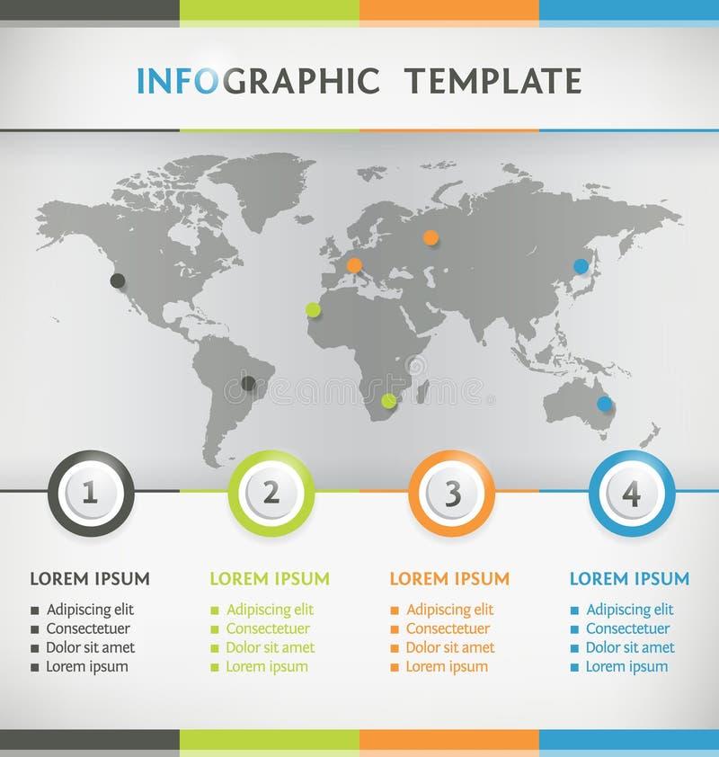 Infographic wereldkaart vector illustratie