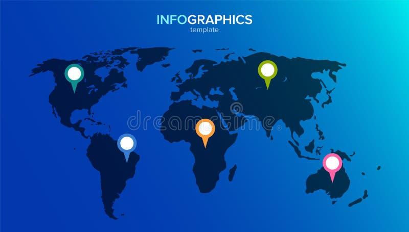 Infographic wereldkaart 5 multi-colored spelden op de continenten Vectorillustratie in vlakke stijl voor infographics royalty-vrije illustratie