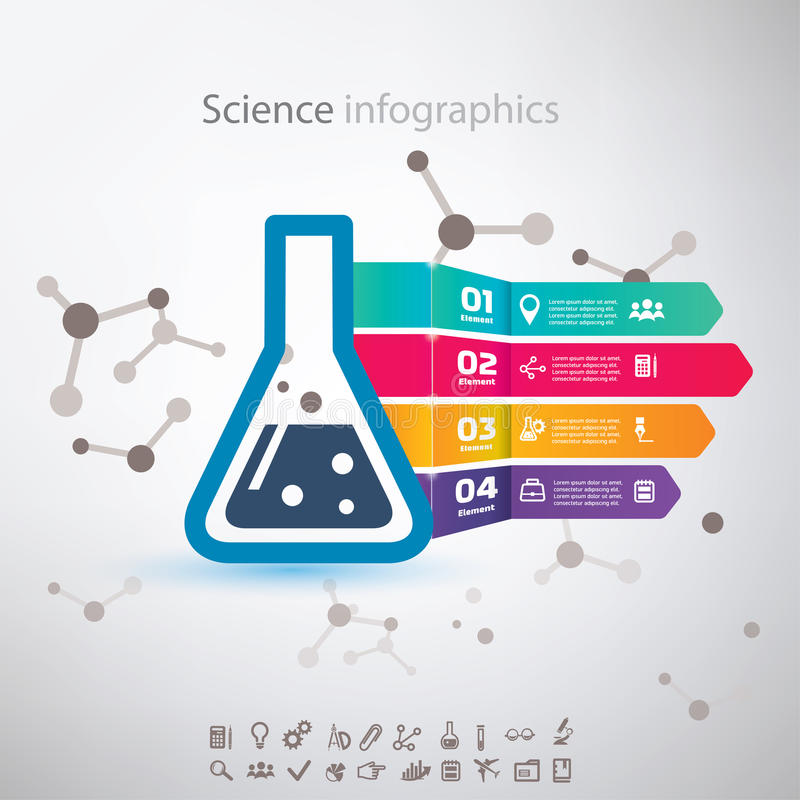 Infographic wetenschap, chemiebiotechnologie stock illustratie