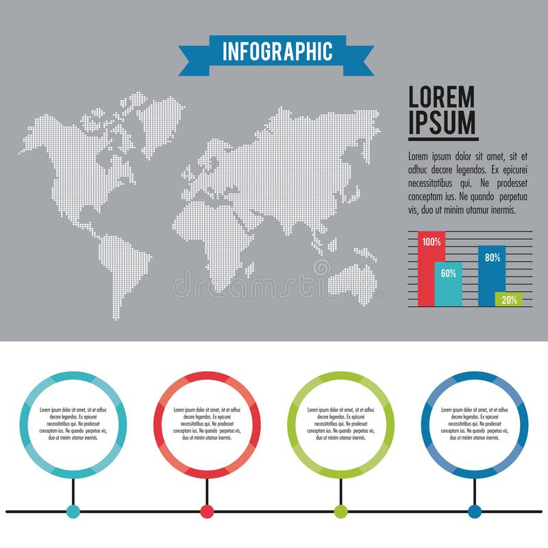 Infographic whole world. With bars diagrams vector illustration graphic design royalty free illustration