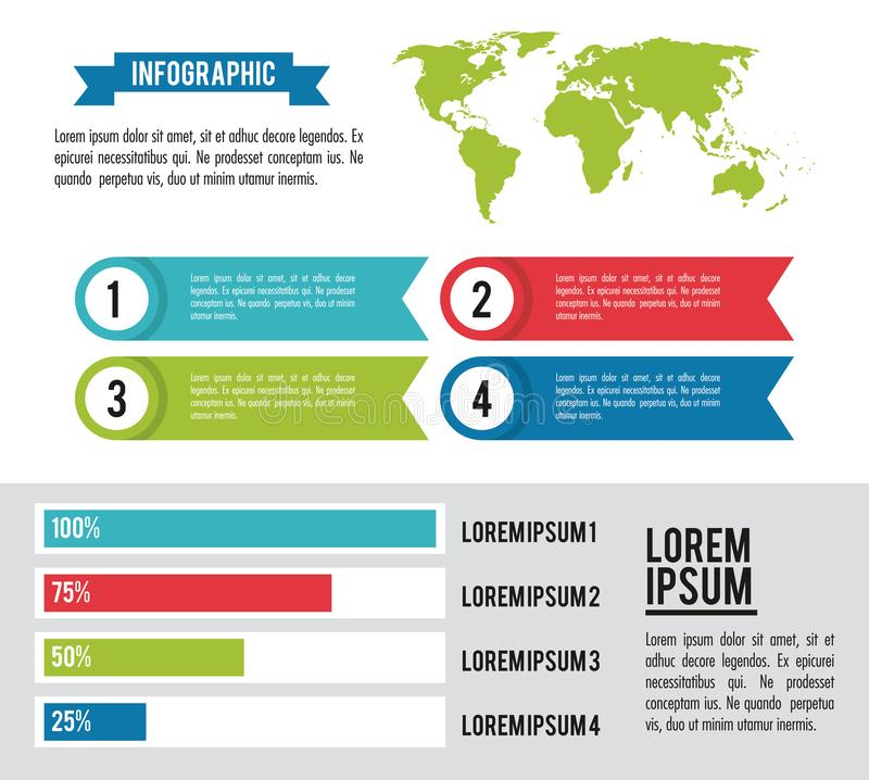 Infographic whole world. Horizontal diagrams and tabs vector illustration graphic design royalty free illustration