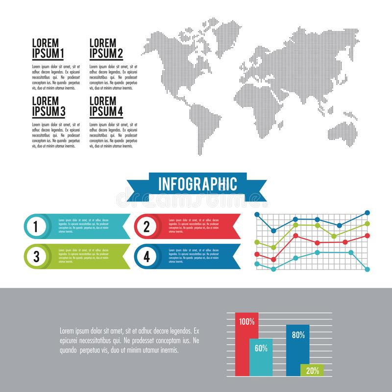 Infographic whole world. With line diagrams vector illustration graphic design royalty free illustration