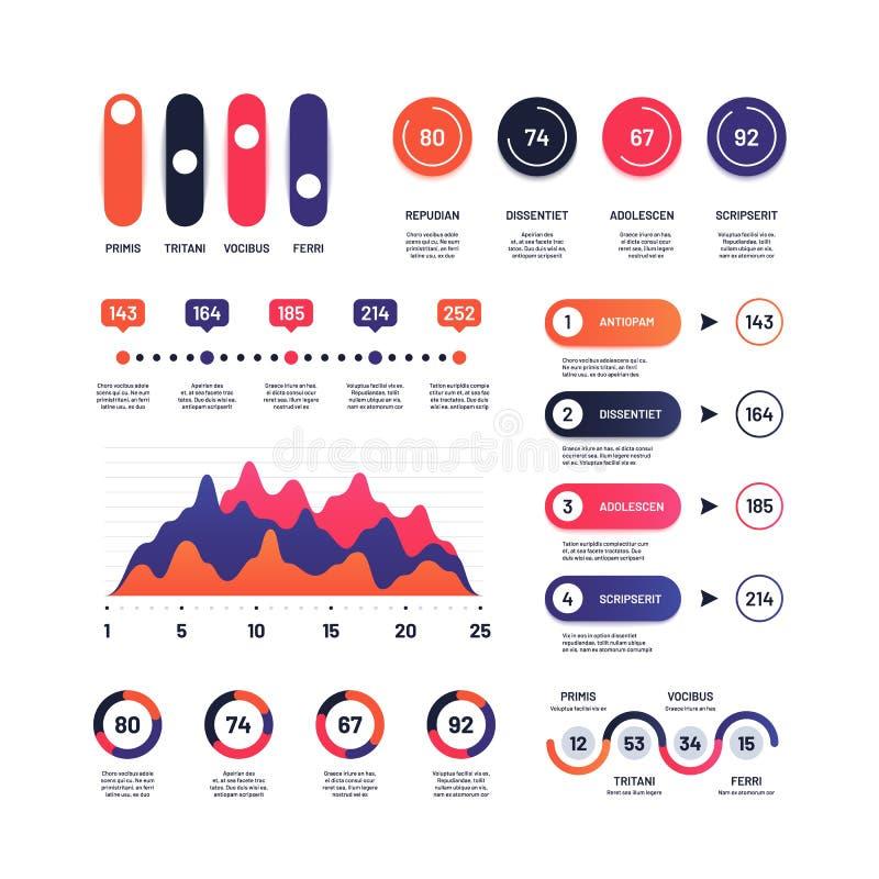 Infographic Wielocelowe ekonomiczne mapy wprowadzać na rynek wykresy, procesu stół, korporacyjną linię czasu i flowchart infograp royalty ilustracja