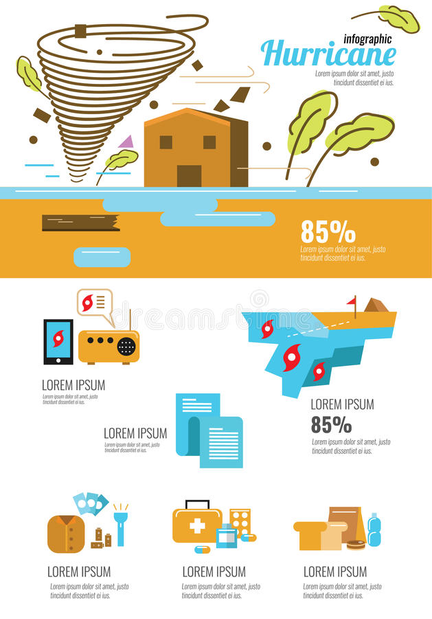 Infographic wind Tornado en orkaan met natuurrampensymbolen dat wordt geplaatst stock illustratie
