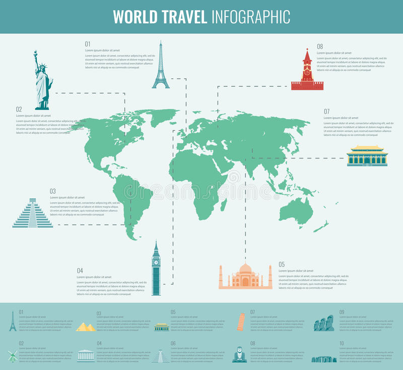 Infographic world landmarks on map. Vector stock illustration