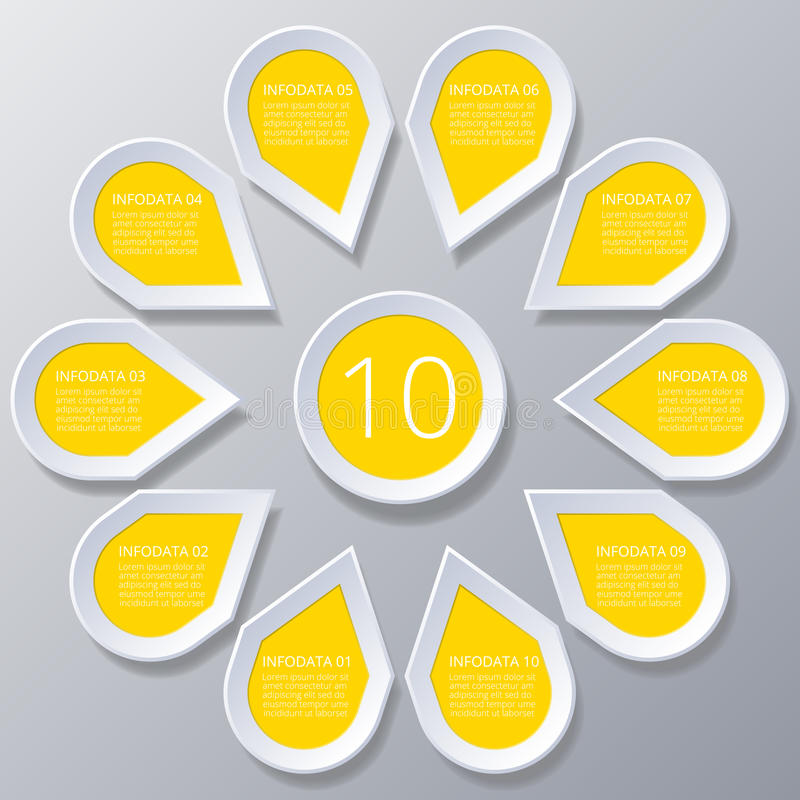 Infographic yellow Points arranged in sun circle with 10 steps. vector illustration