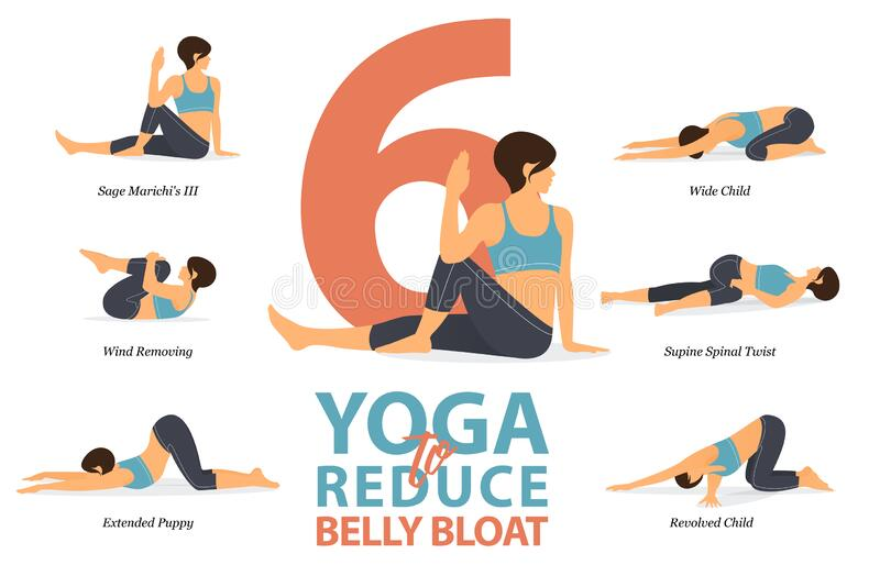 Infographic Of 6 Yoga Poses For Reduce Belly Bloat In Flat Design Beauty Woman Is Doing Exercise For Body Weight Loss Vector Stock Vector Illustration Of Nature Class 178152968