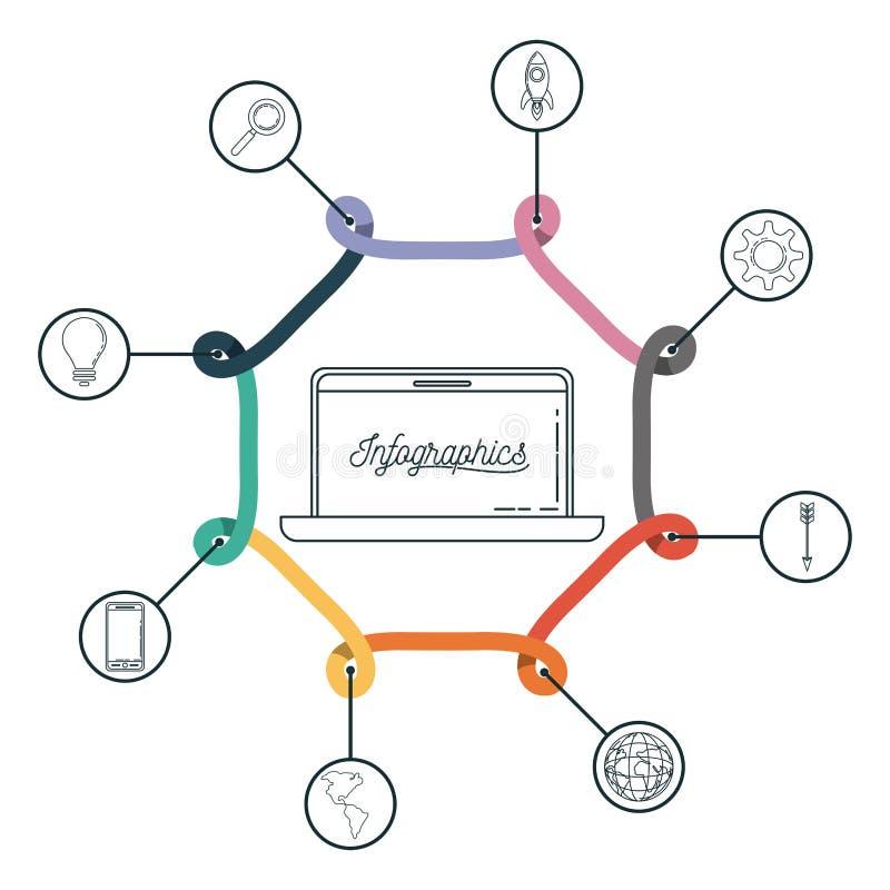 Infographic z środkowym sześciokątem wokoło z laptopem i ikonami na on royalty ilustracja