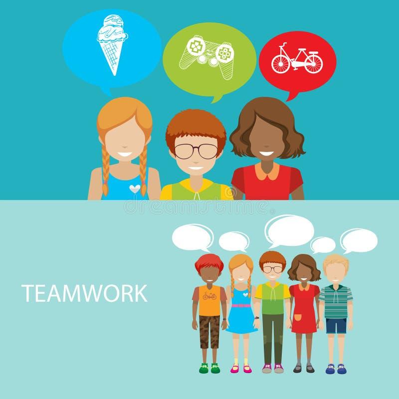 Infographic z dziećmi i pracą zespołową ilustracja wektor