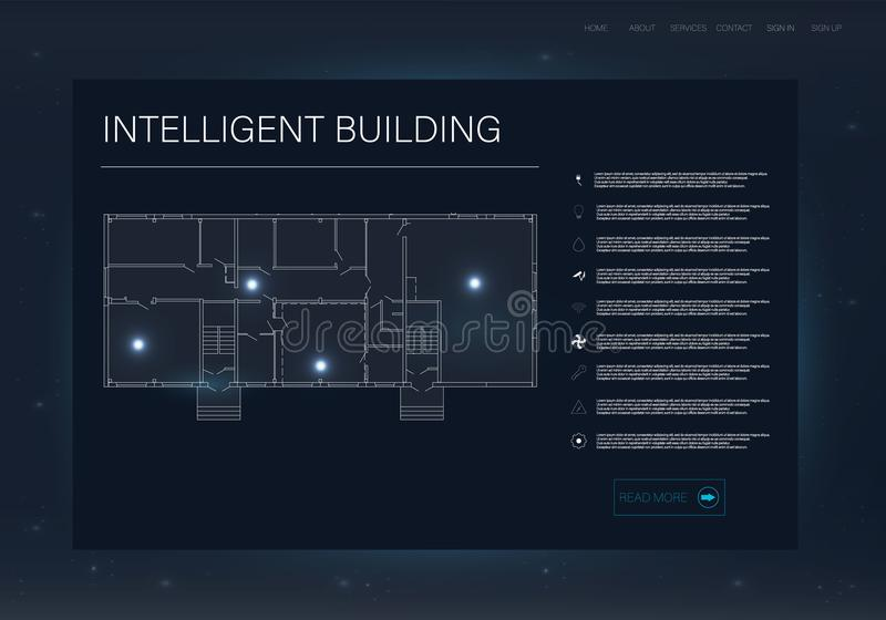 Infographic z inteligentnym domem Przyszłościowy technologia pokazu projekt Mądrze domowy pojęcie royalty ilustracja