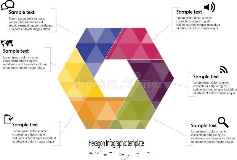 Infographic z sześciokąta motywem ilustracji