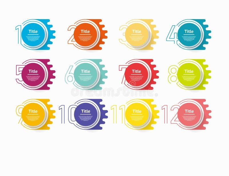 Infographic Zahlwahlen des Kreises Entwurfsvektorschablone kann für Arbeitsflussplan, Diagramm, Darstellung, Webdesign benutzt we lizenzfreie abbildung