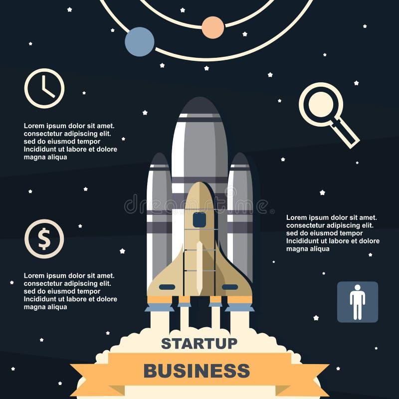 Infographic zaken, bedrijfsmalplaatje, raket, lancering, bedrijfsstappen, vlak ontwerp royalty-vrije illustratie