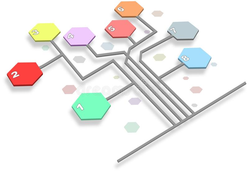 Infographic-Zeitachse-Berichtsdiagramm mit Hexagonen lizenzfreie abbildung