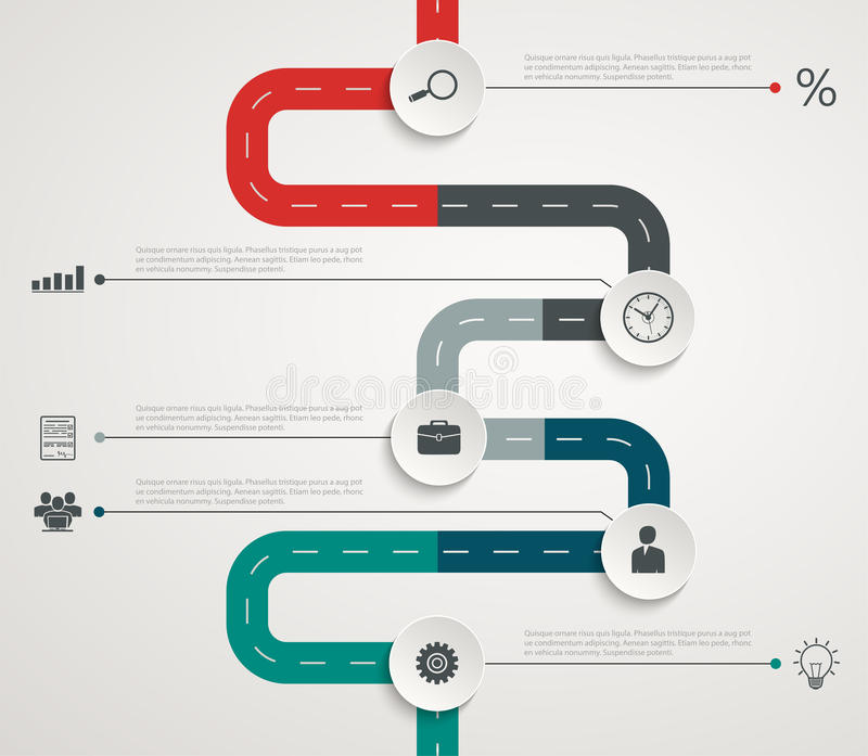Infographic Zeitachse der Straße mit Ikonen Vertikale Struktur vektor abbildung