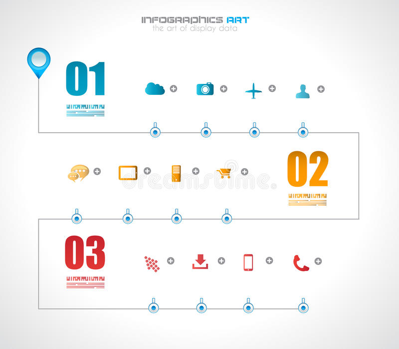 Infographic-Zeitachse-Designschablone mit Papiertags vektor abbildung