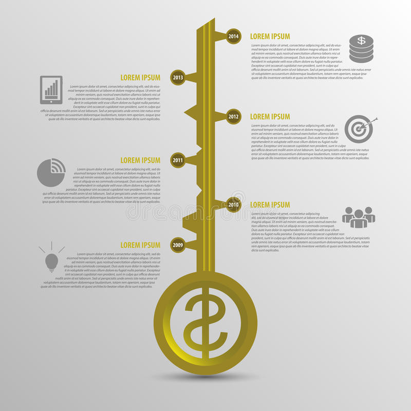 Infographic-Zeitachse Geschäftsschlüsselkonzeptschablone Goldvektor vektor abbildung