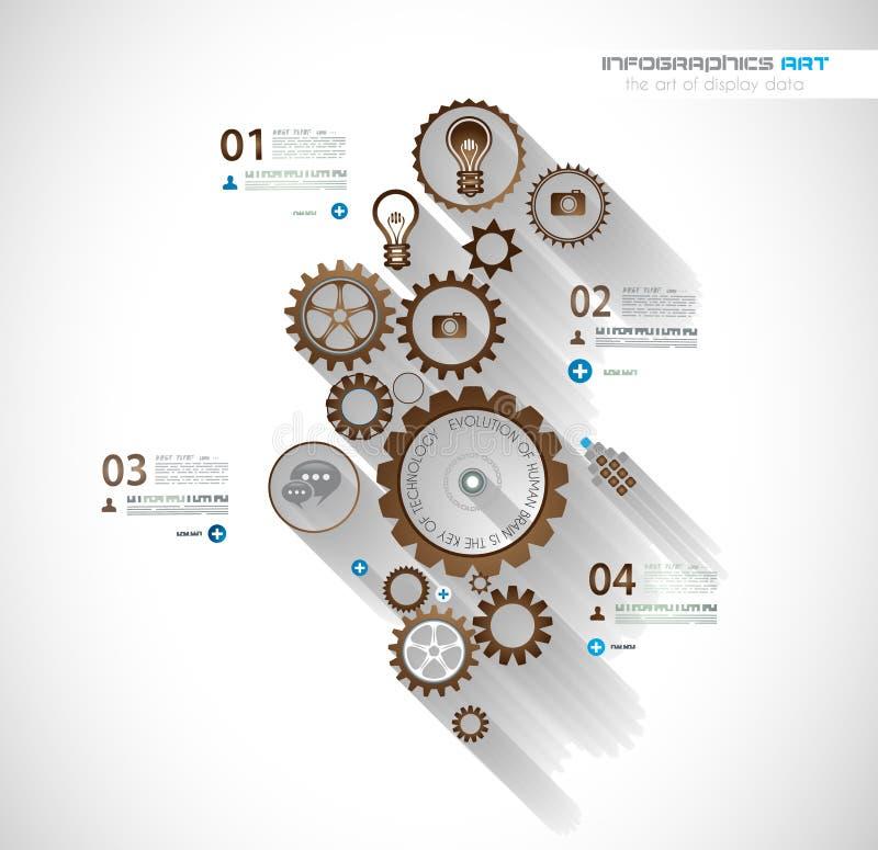 Infographic-Zeitachse mit Gangmechaniker lizenzfreie abbildung