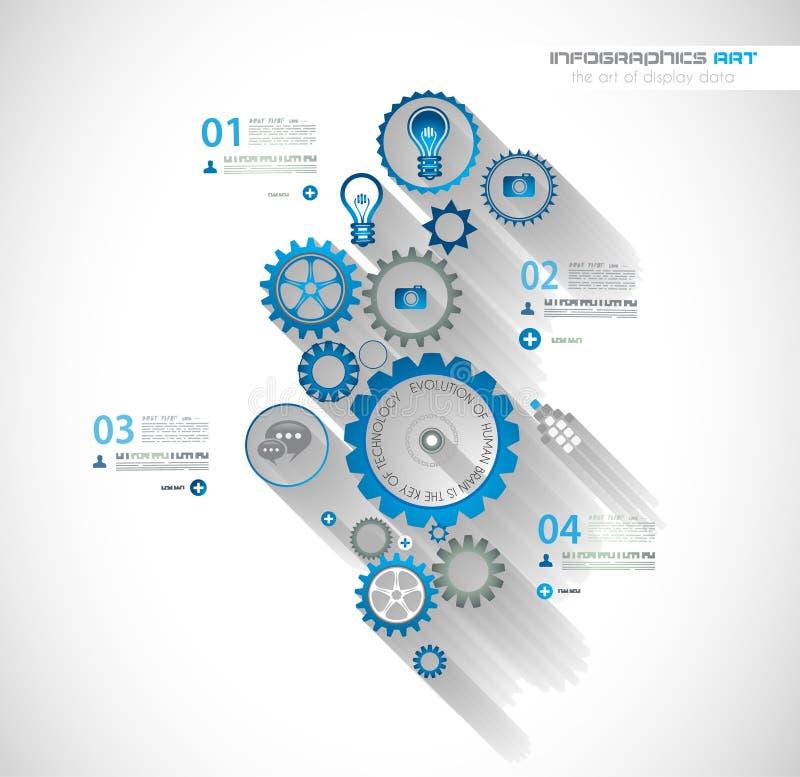 Infographic-Zeitachse mit Gangmechanikerkonzept lizenzfreie abbildung