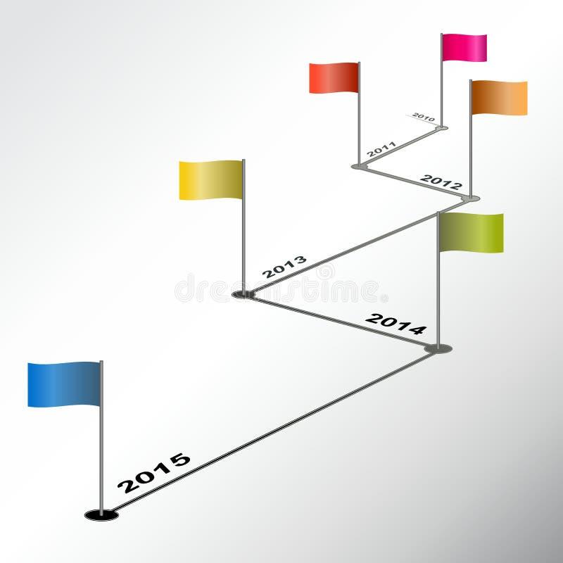 Infographic-Zeitachsebericht mit farbigen Flaggen lizenzfreie abbildung