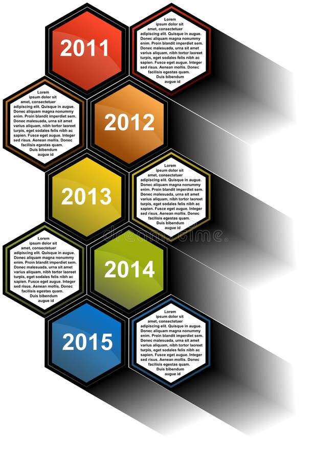 Infographic-Zeitachsebericht mit farbigen Hexagonen stock abbildung