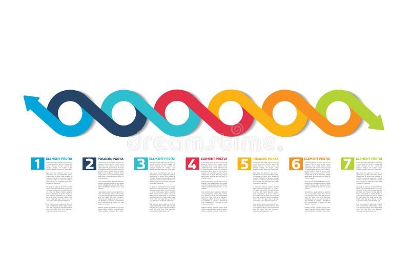 Infographic-Zeitachsebericht, Schablone, Diagramm, Entwurf lizenzfreie abbildung