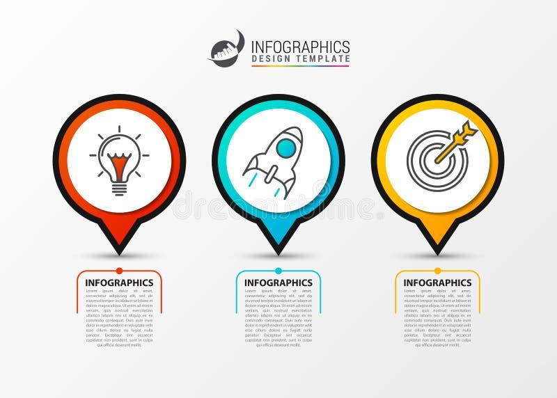 Infographic Zeitachsekonzept des Geschäfts mit 3 Schritten Vektor lizenzfreie abbildung