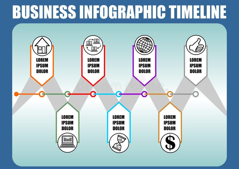 Infographic-Zeitachseschablone, abstrakter Vektor mit sieben Elementen, Ikonen und Kopienraum, blauer Steigungshintergrund mit du vektor abbildung