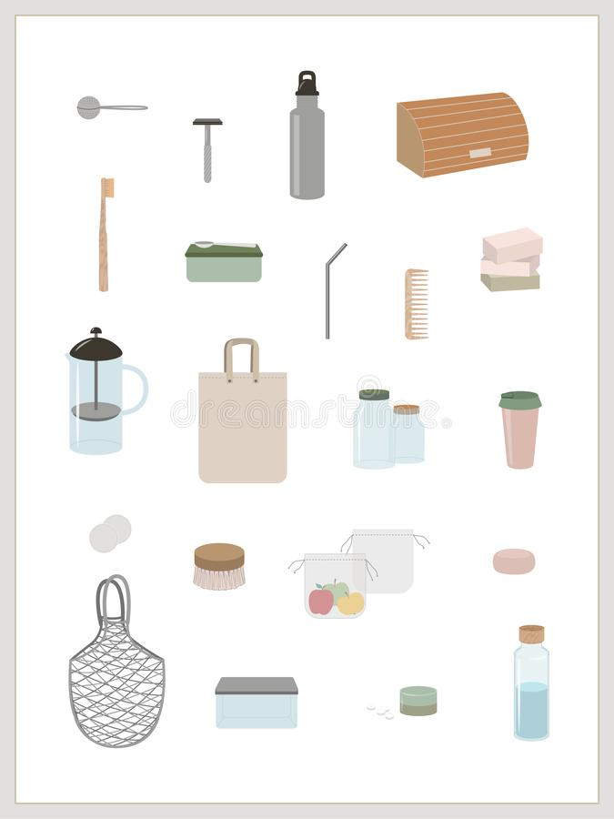 Infographic zielony styl życia, zero odpadów, minimalizm royalty ilustracja