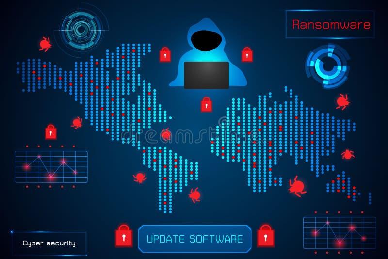 Infographic-Zusammenfassungstechnologie-Konzeptinformationen von ransomwar lizenzfreie abbildung