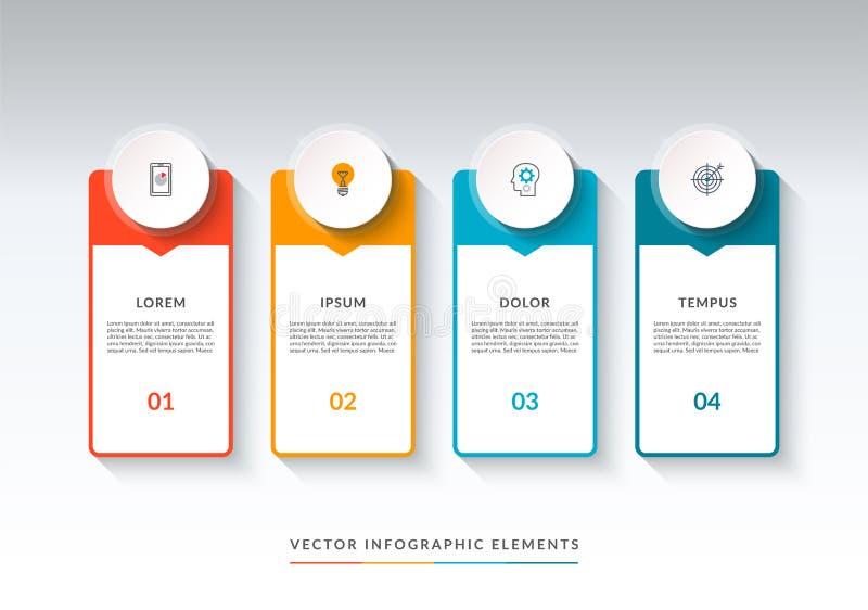 Infographicbanner met 4 opties Vector Malplaatje stock illustratie