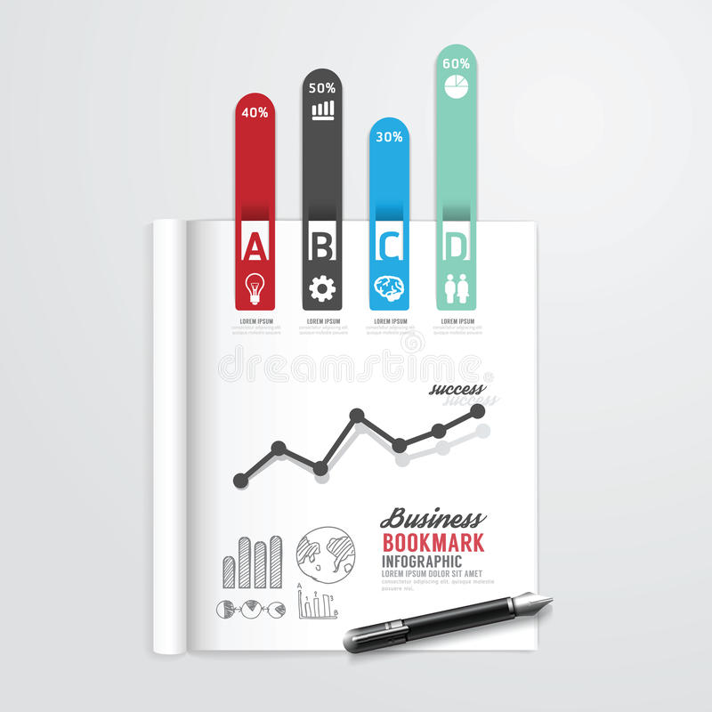 Infographicboek open met het conceptenzaken van de referentiepijl royalty-vrije illustratie