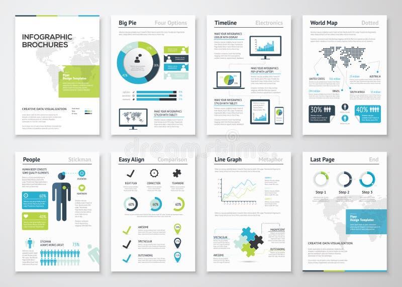 Infographicbrochures voor bedrijfsgegevensvisualisatie royalty-vrije illustratie
