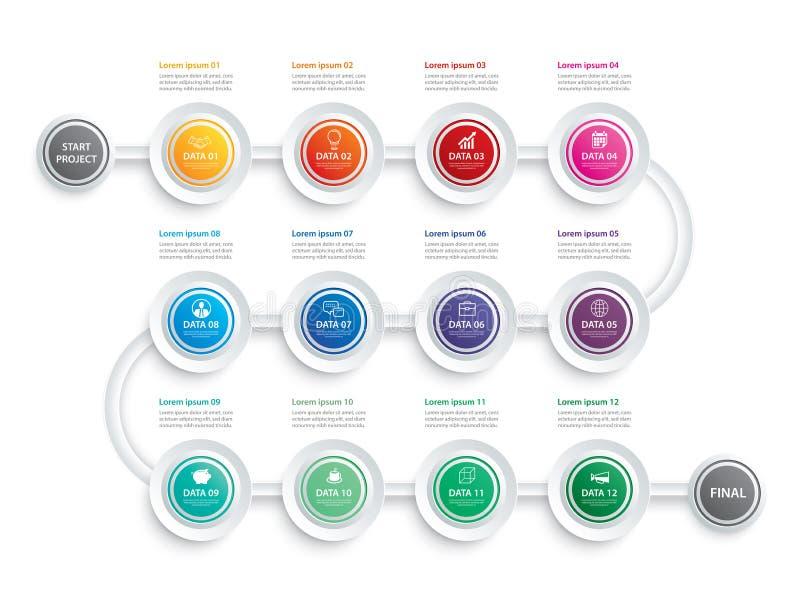Infographicchronologie 1 jaar of 12 maanden van het bedrijfs gegevensmalplaatje conceptenpijlen De vector kan voor werkschemalay- stock illustratie