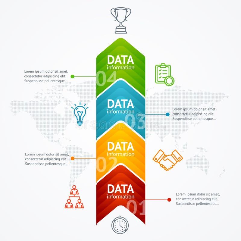 Infographicchronologie met Pijl verticaal Vector stock illustratie