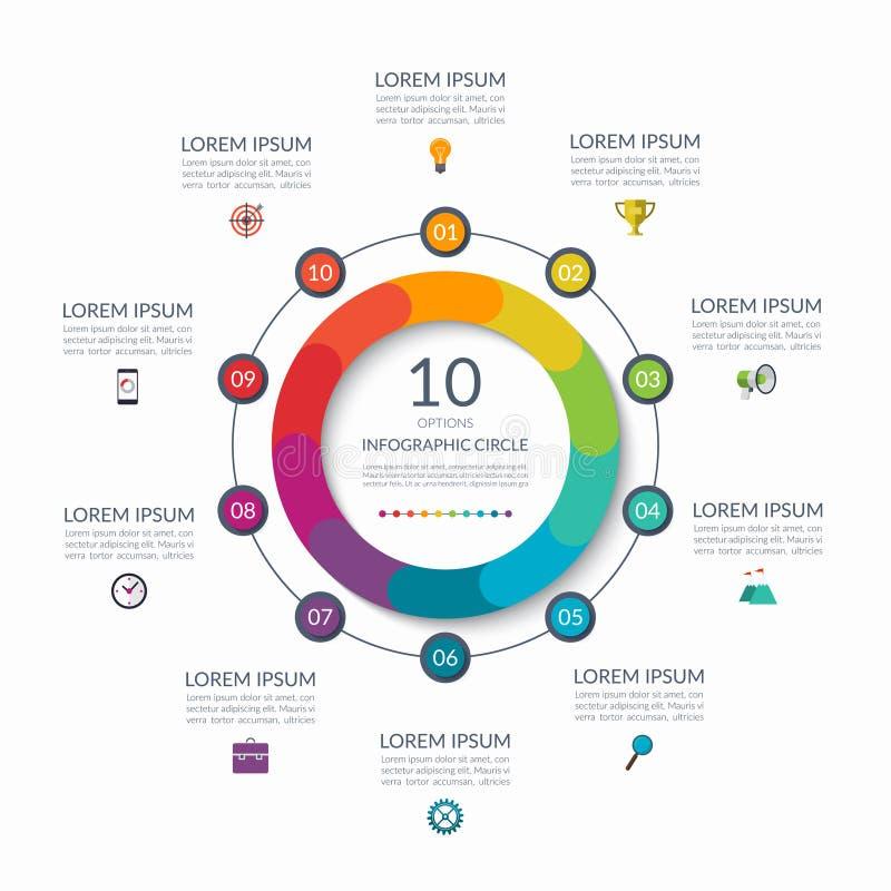 Infographiccirkel 10 opties, stappen, delen Bedrijfsconcept voor diagram, grafiek, grafiek Vector Malplaatje royalty-vrije illustratie