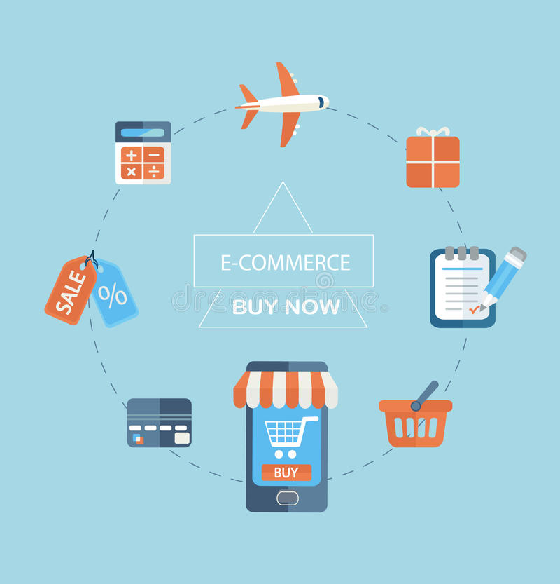 Infographicconcept het kopen via Internet vector illustratie