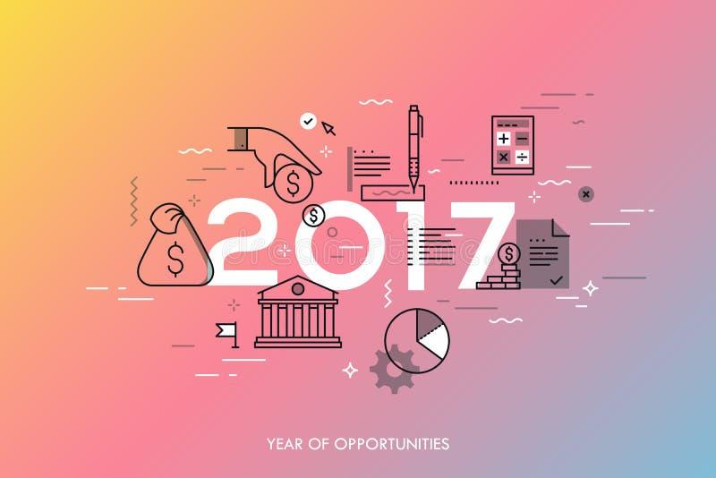 Infographicconcept, 2017 - jaar kansen Nieuwe hete tendensen en voorspellingen in economie, begroting planning, geld vector illustratie