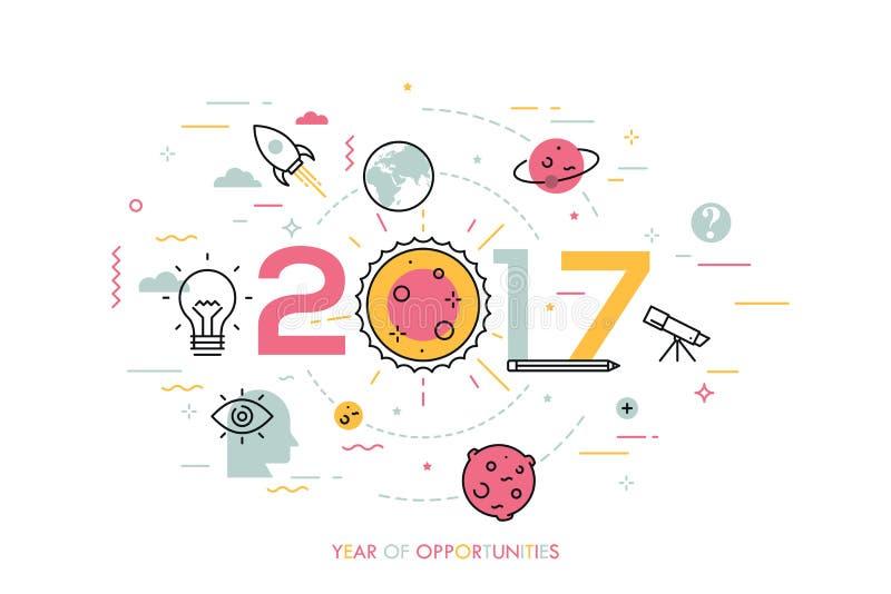 Infographicconcept, 2017 - jaar kansen Tendensen en vooruitzichten in ruimte wetenschappelijk onderzoek en exploratie, vector illustratie
