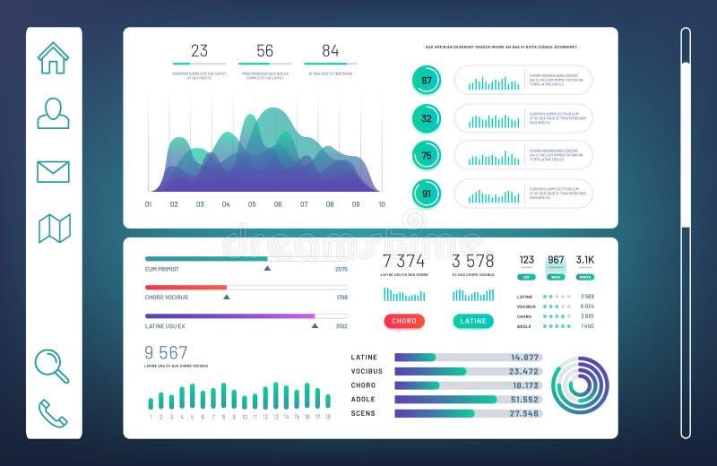 Infographicdashboard, het paneel van Webadmin met informatiegrafieken, diagrammen vectormalplaatje vector illustratie