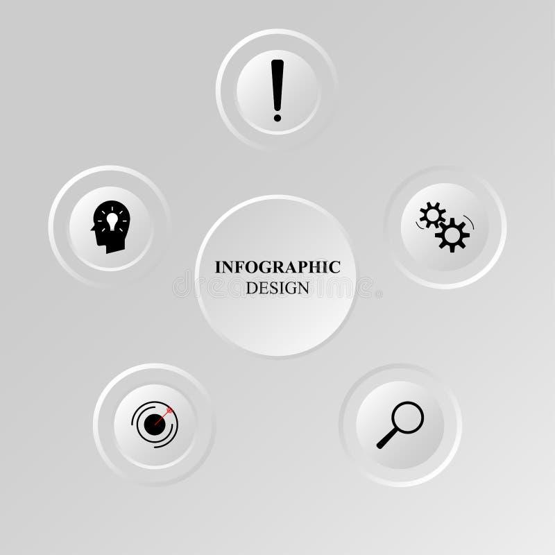 Infographicdocument element, witte knoop, kleurrijk die gegevensmalplaatje, voor bedrijfspresentatie, brochure, vliegers, banner, royalty-vrije illustratie